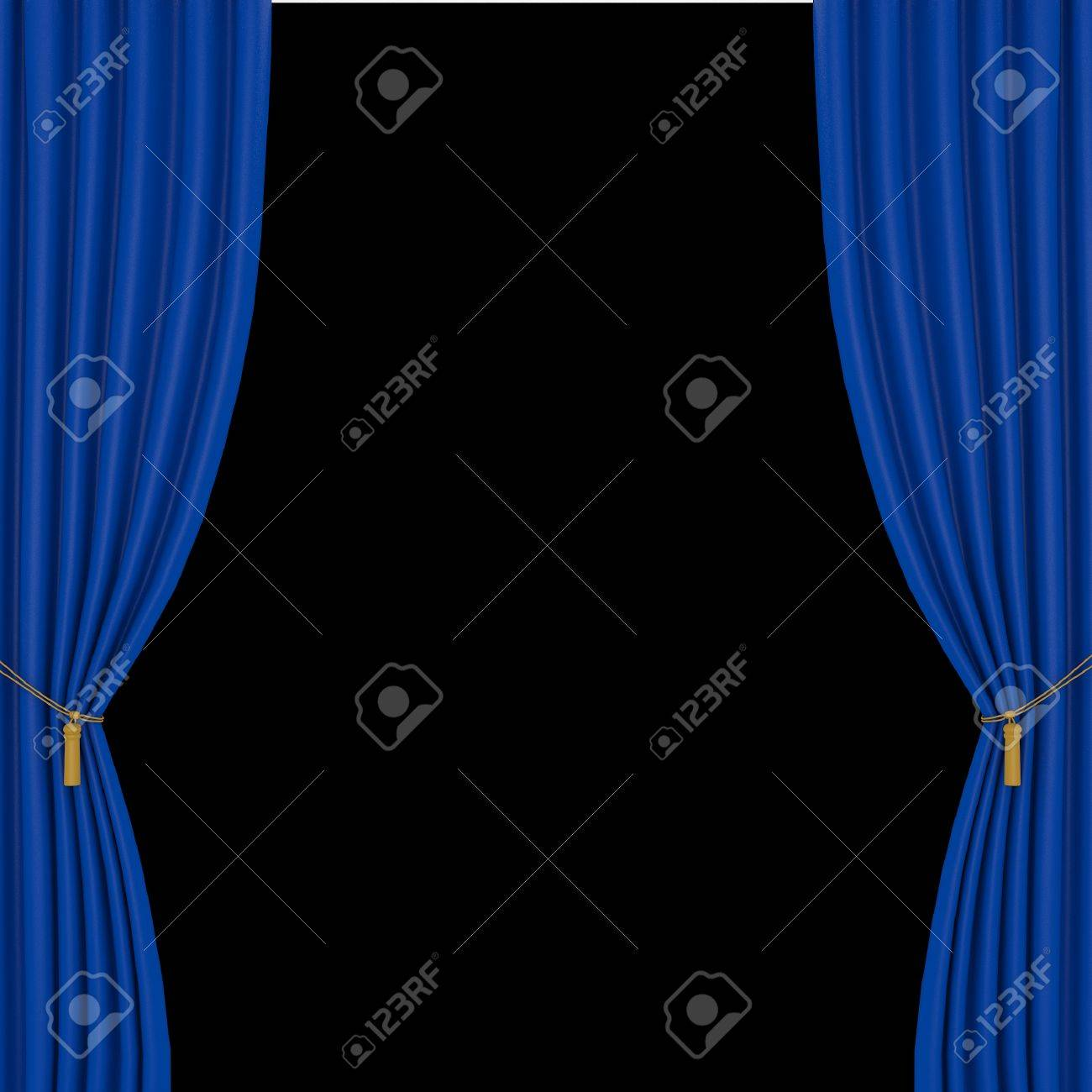 Black And Blue Curtains Blue Curtains On A Black Background