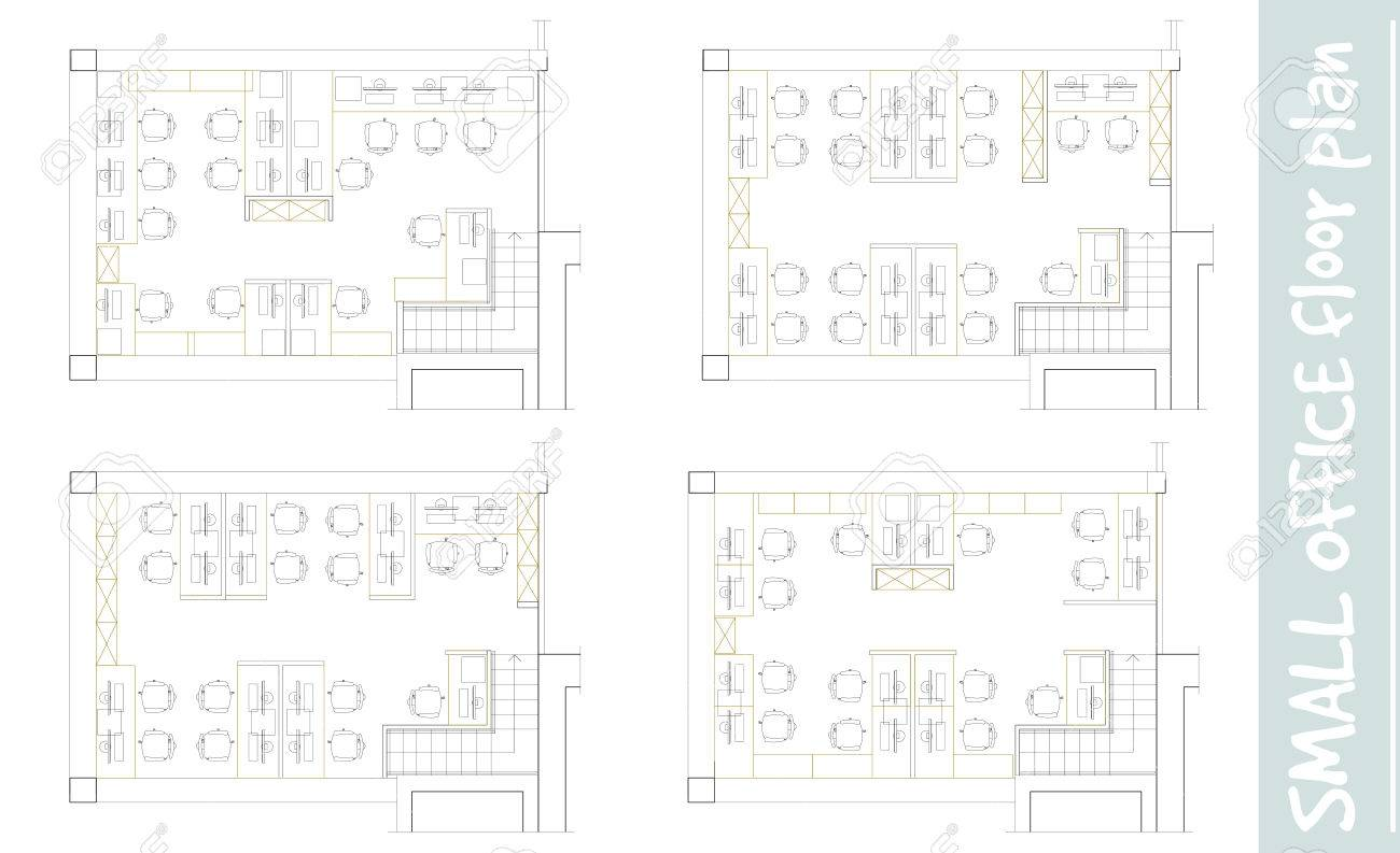 Office Plans Standard Furniture Symbols Used In Architecture Plans Icons Set