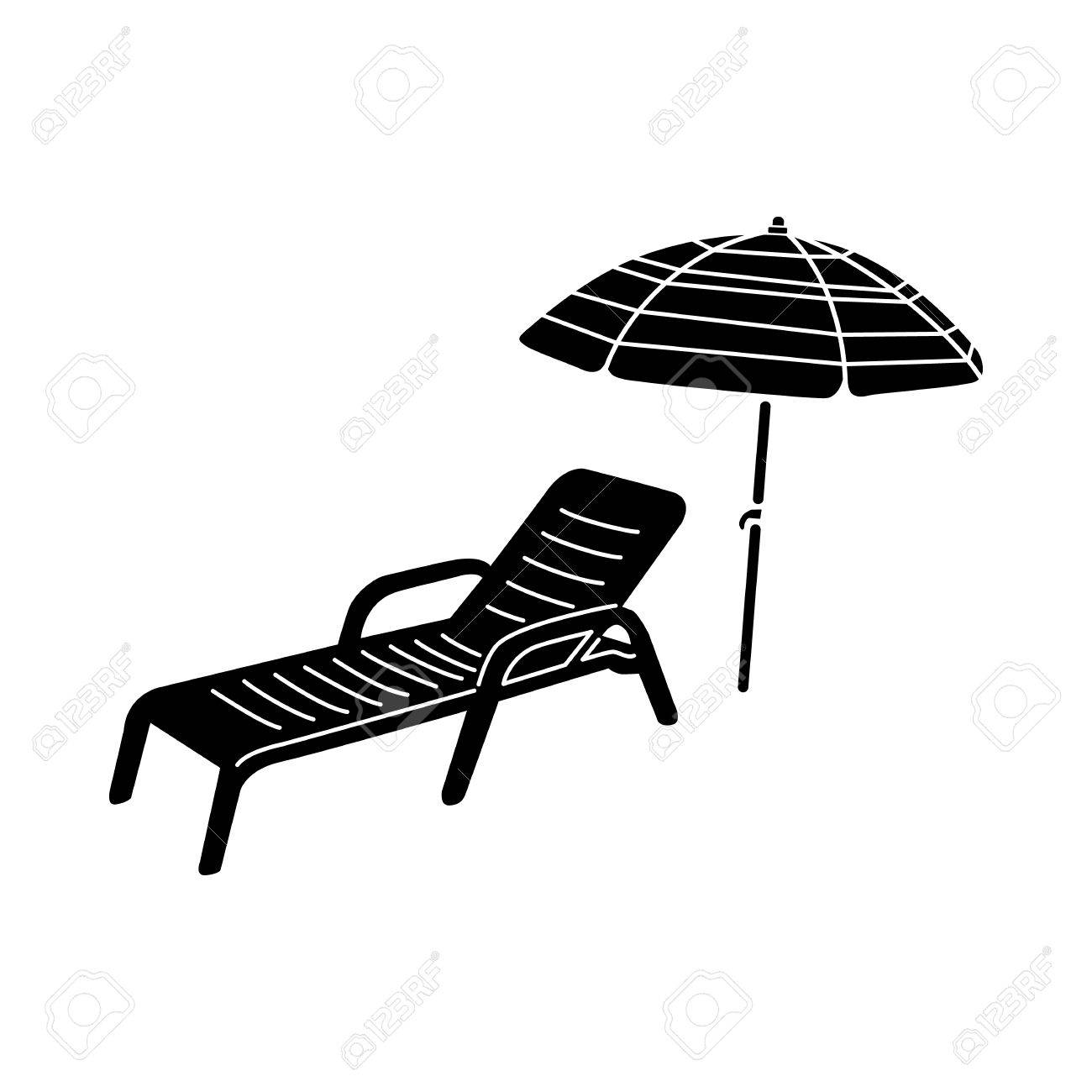 Sonnenliege Clipart Sun Lounger And Parasol Icon In Simple Style Isolated On White