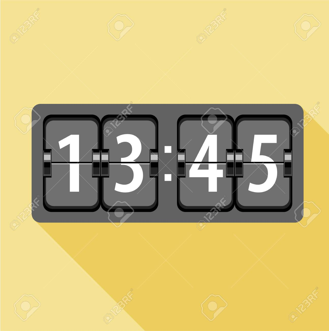 Flip Clock Analog Flip Clock Icon Flat Illustration Of Analog Flip Clock