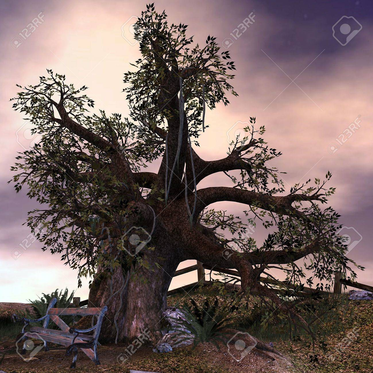 3d rendering an old tree at an abandoned place as illustration stock illustration 8053520