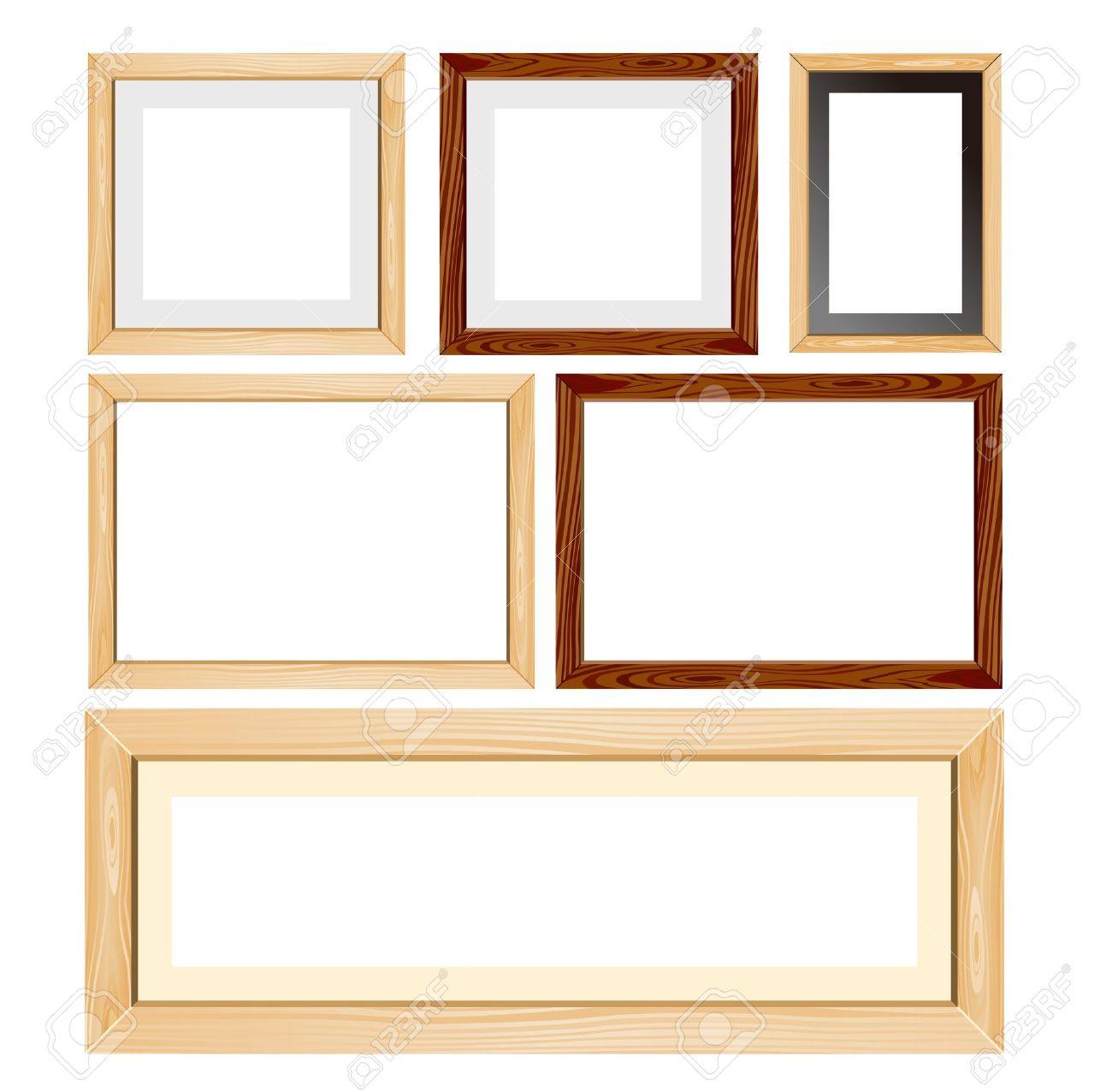 Wooden frame photo frame wood frames set vector