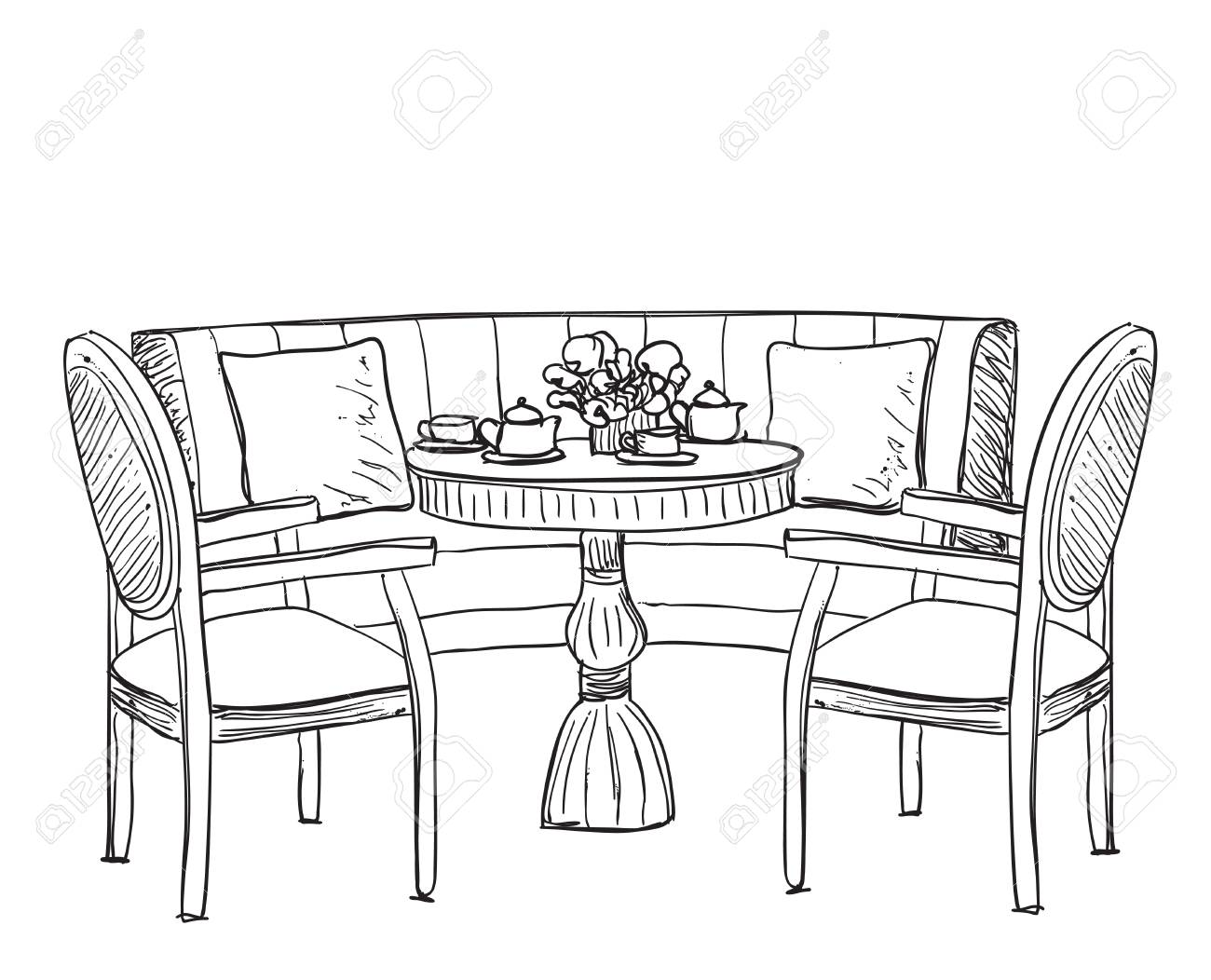 Dinner Sofa Furniture In The Cafe Dinner Table Hand Drawn Chair And Sofa