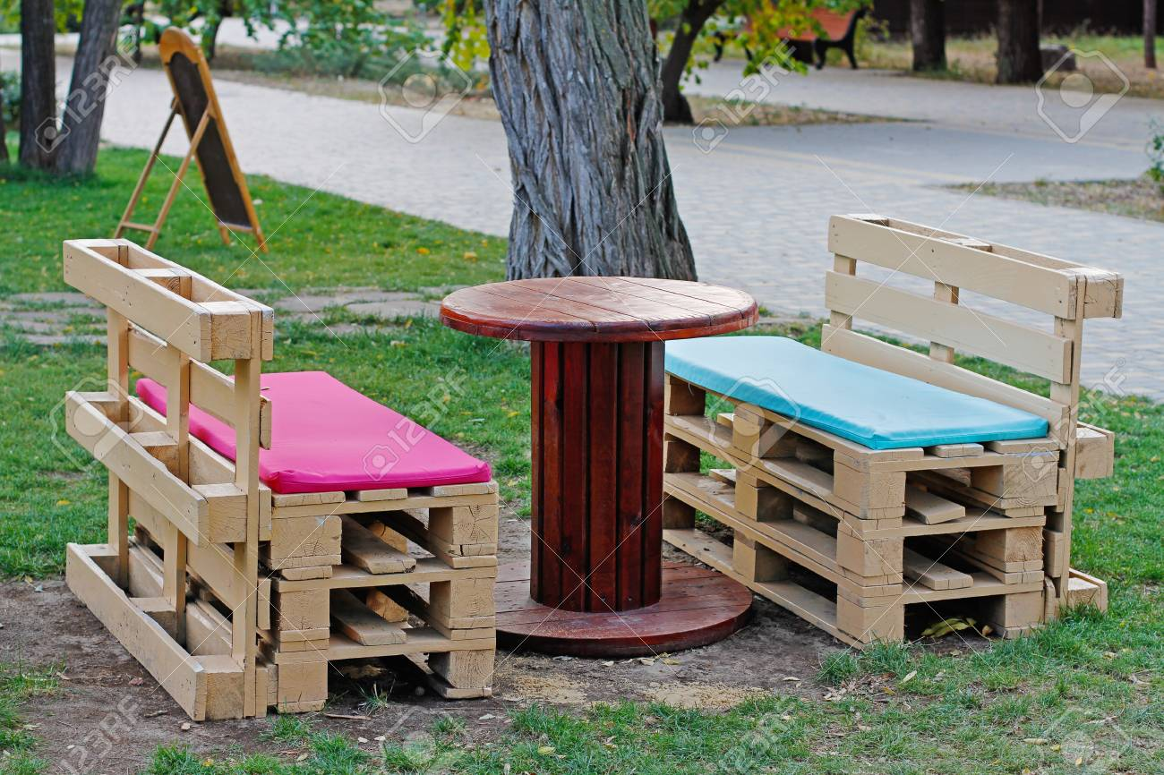 Wooden Bench Table Wooden Bench Made Of Pallets For Sitting With Table Made From