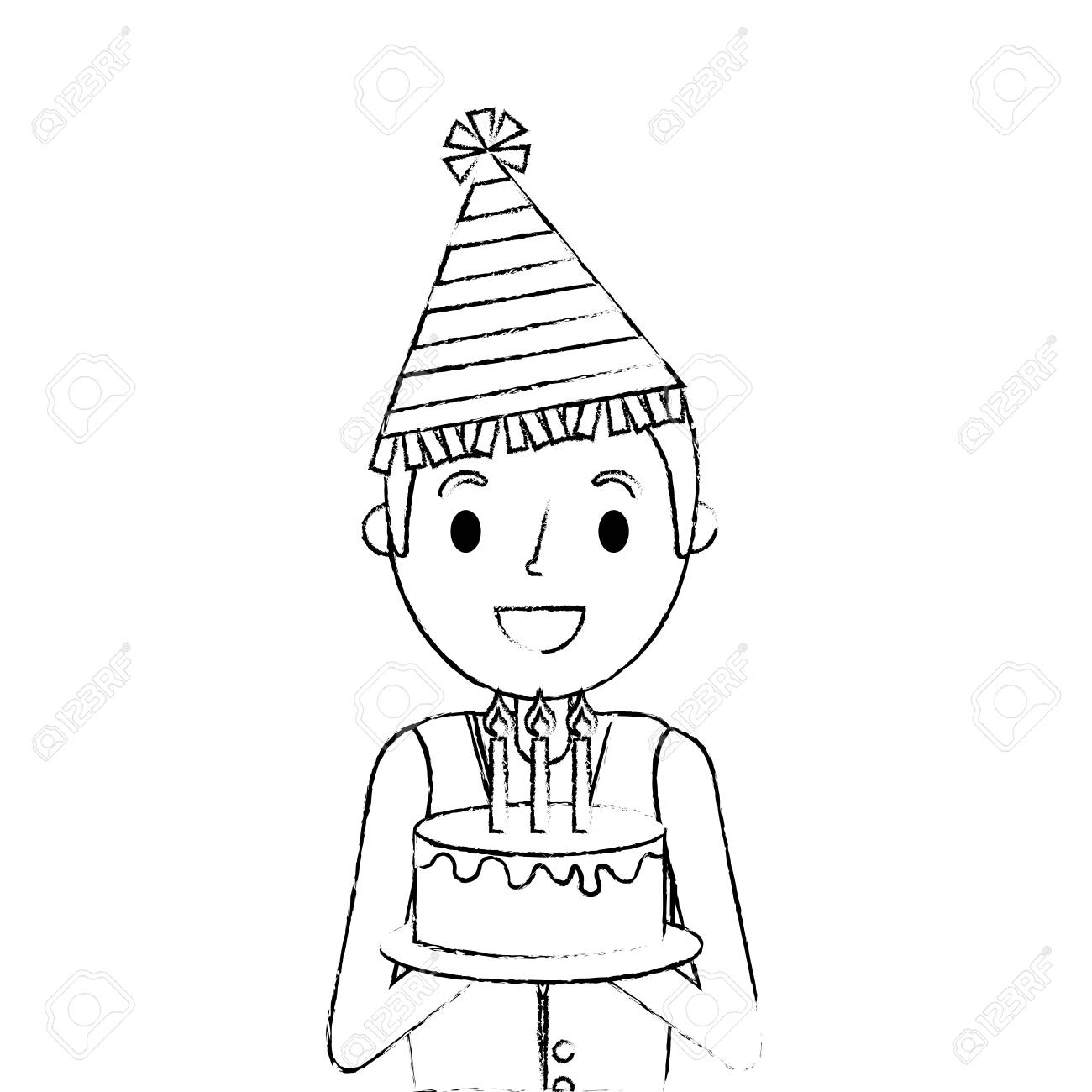 Party Hat Clipart Black And White Happy Man Holding Birthday Cake Wearing Party Hat Vector Illustration
