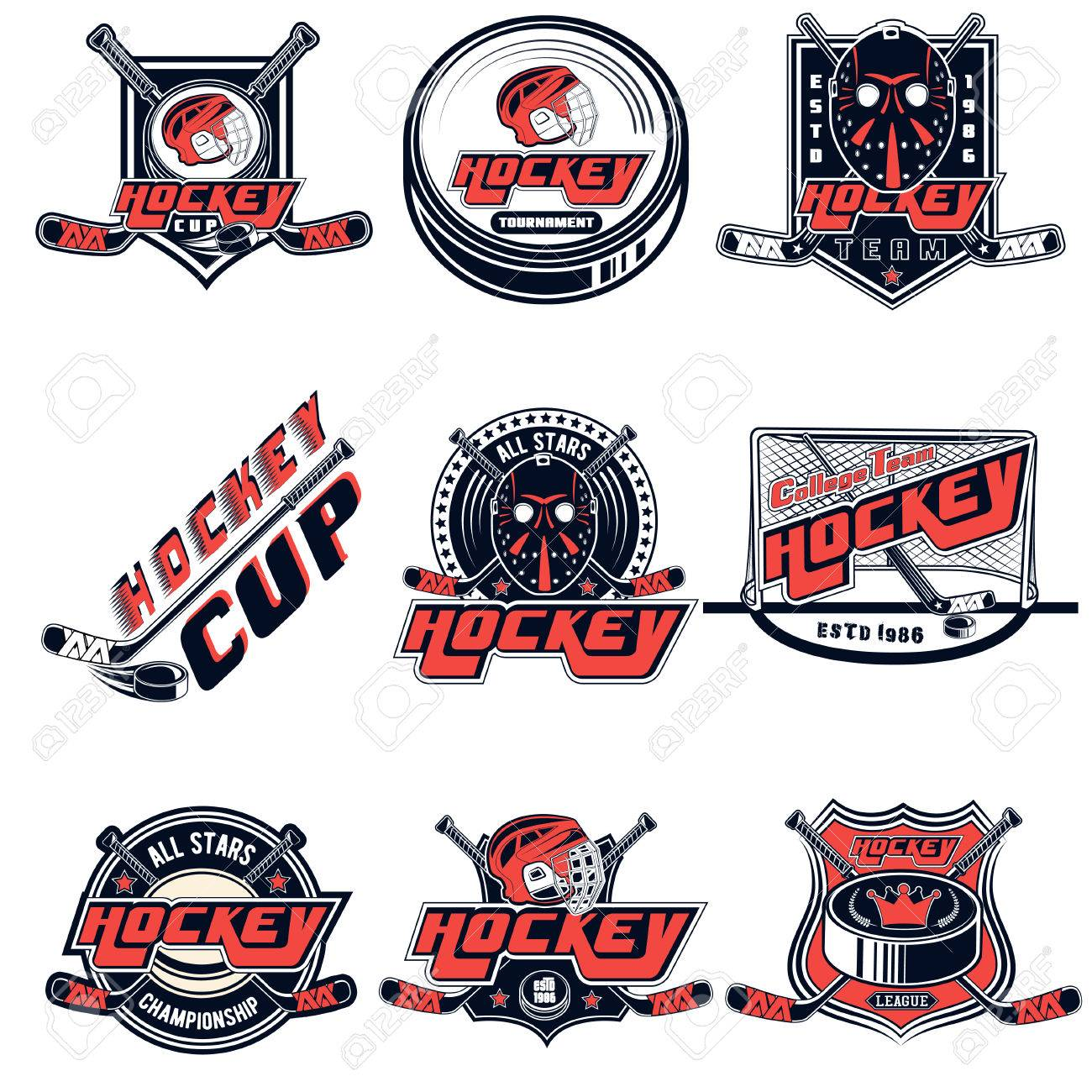 Hockey Logos Vector Set Hockey Logos For Sports Team Design Web Print On