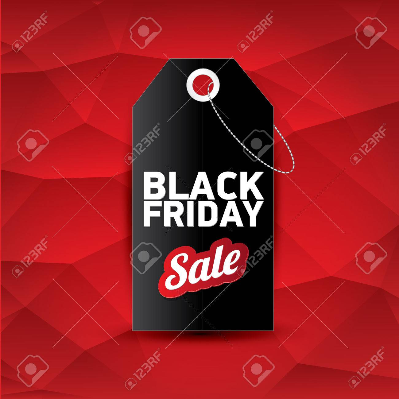 Black Friday Sale Vector Black Friday Sales Tag Or Label On Abstract Polygonal Red Background Black Friday Sale Poster Or Background