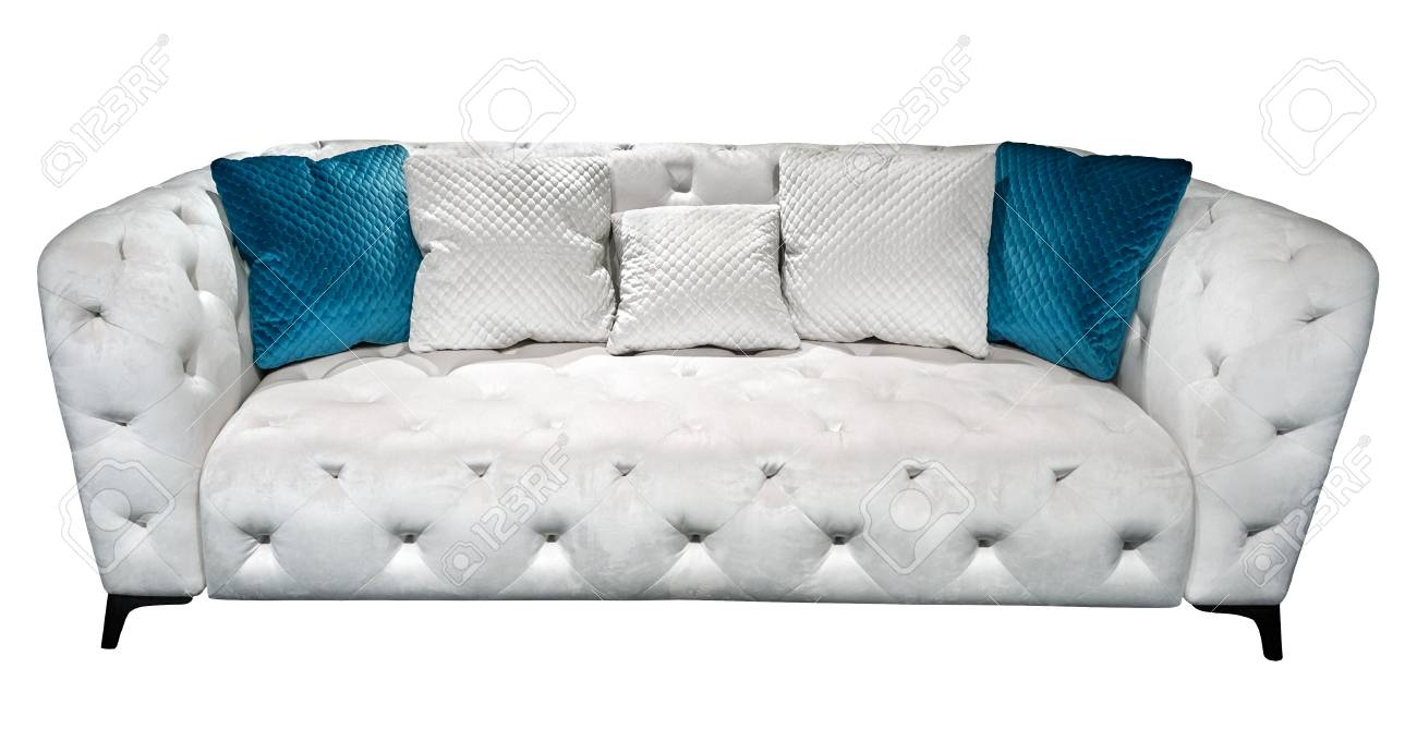 Modern Quilted Sofa White Modern Chesterfield Style Velours Sofa With Pillow Quilted