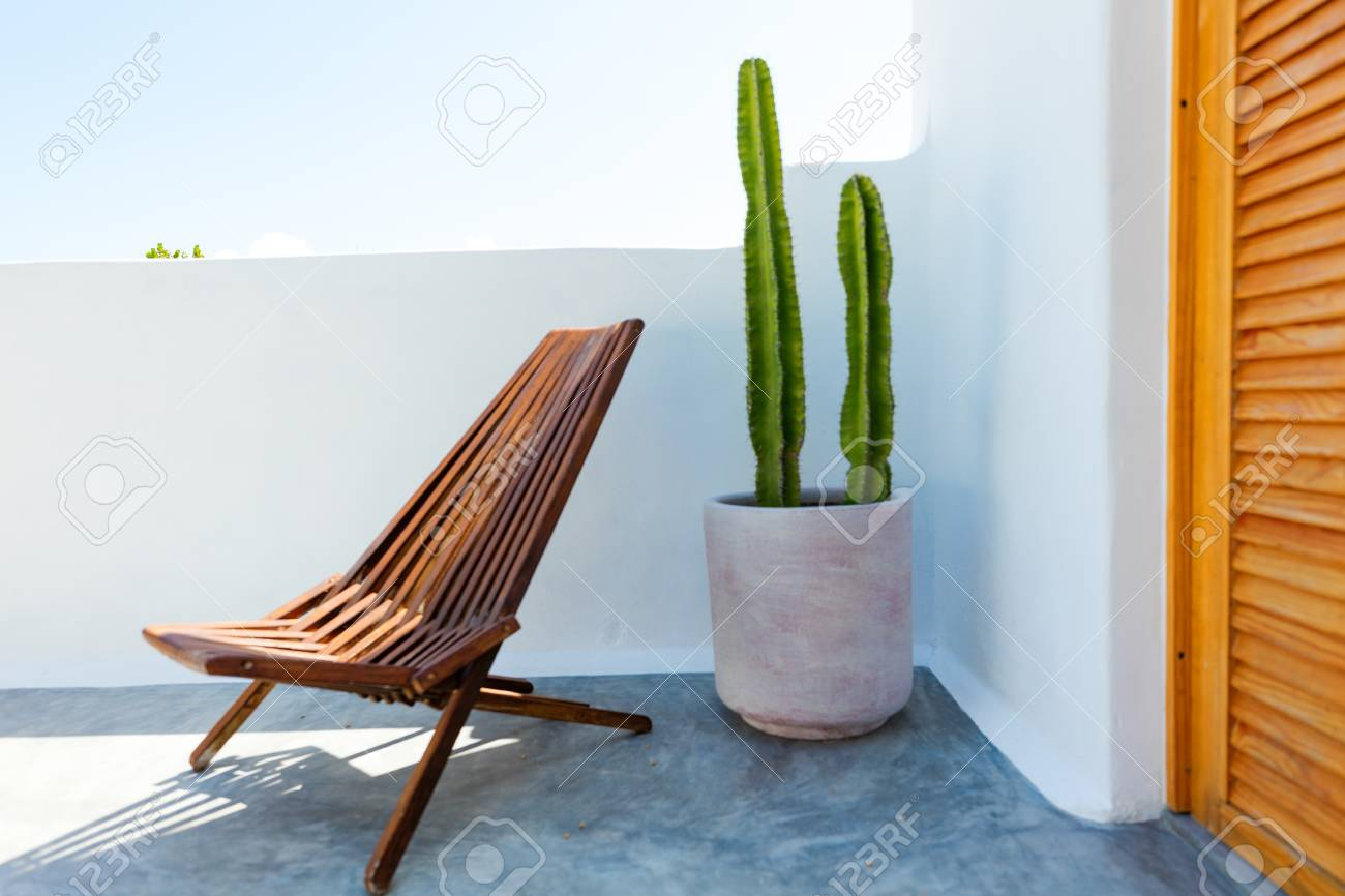 Mexican Rocking Chair Chair And Cactus Plant Inside A Stylish Mexican Home