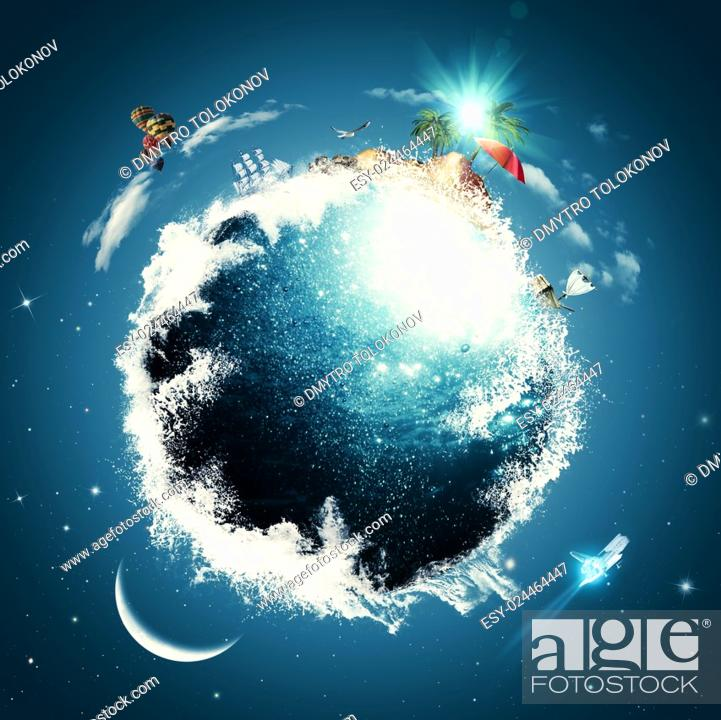 Funny vacation and travel backgrounds with Earth globe, Stock Photo