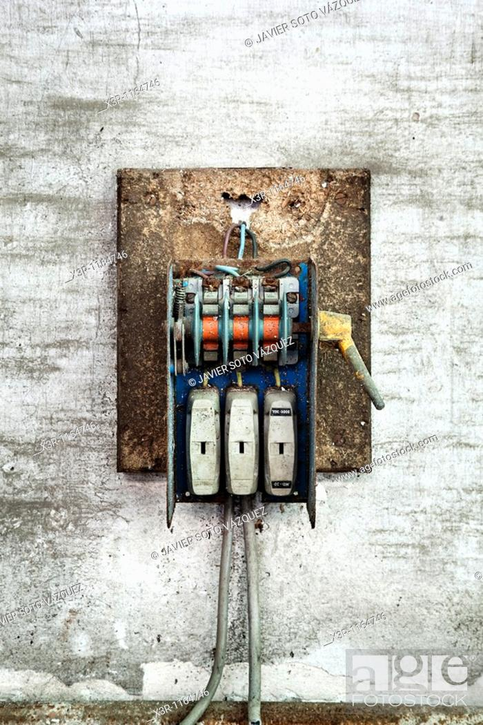 Old electric fuse box, Stock Photo, Picture And Rights Managed Image