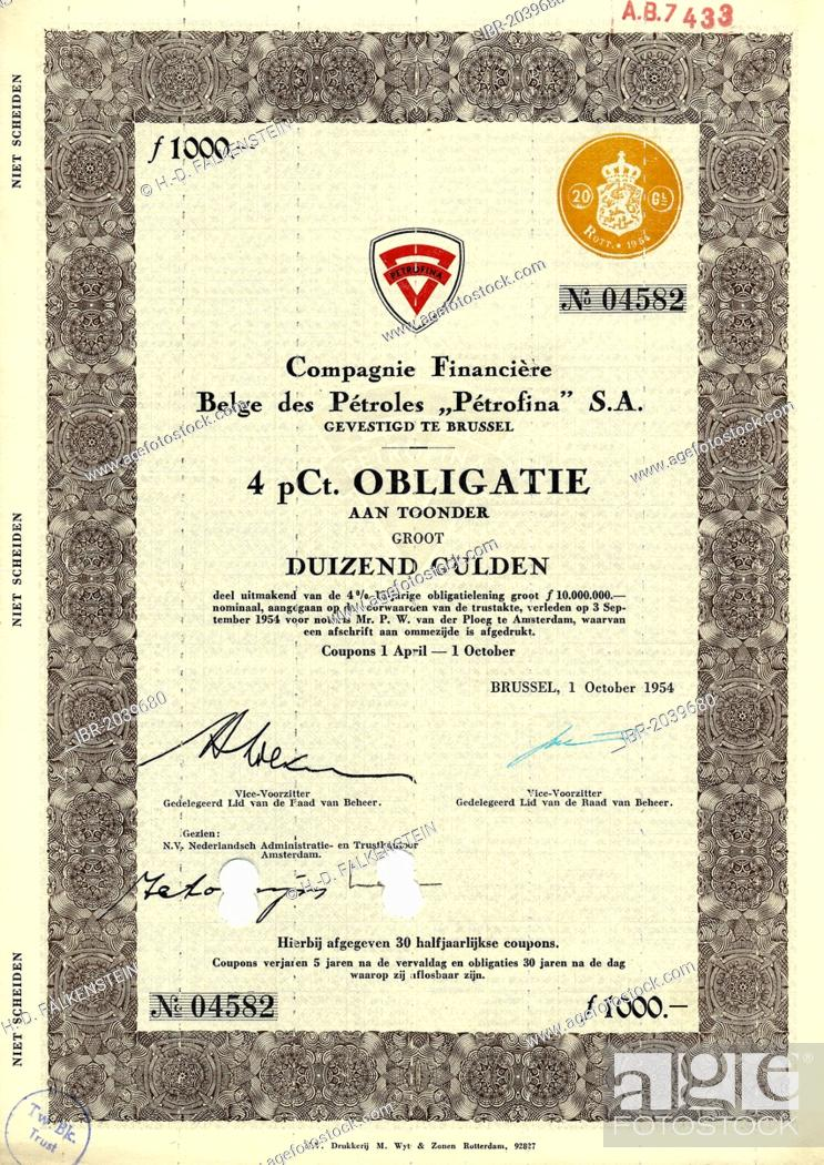 Historical share certificate, value 1000 Guilders, Compagnie