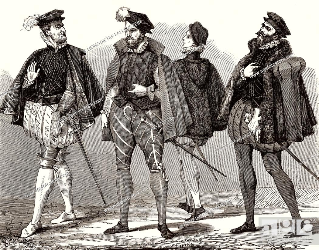 costumes for men in the 16th century, Stock Photo, Picture And