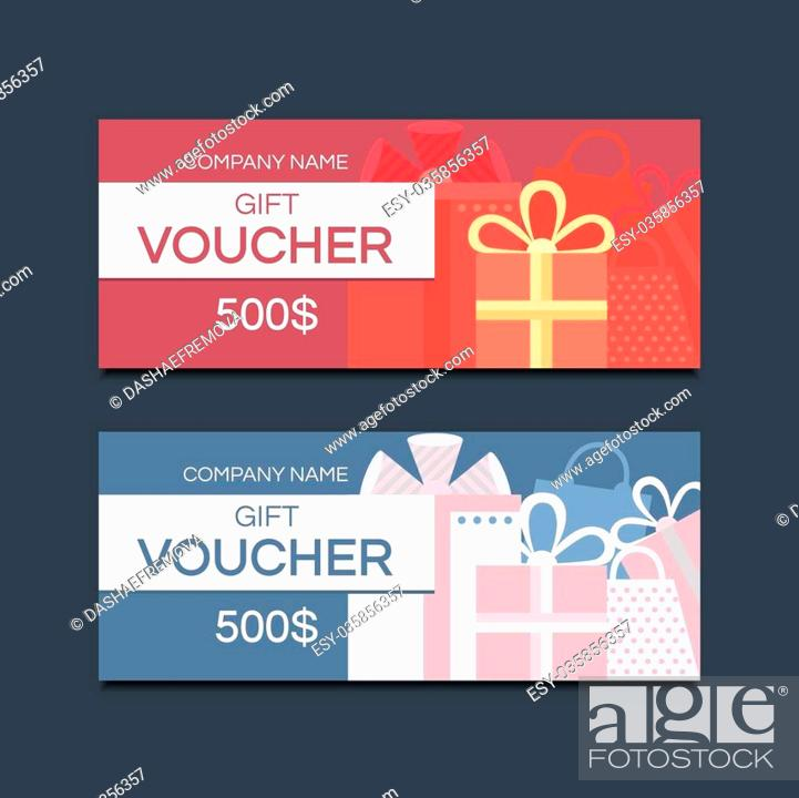 Template gift voucher Vector template for design Gift card Gift