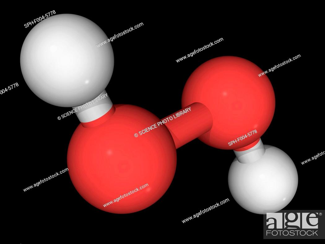 Hydrogen peroxide, molecular model Oxidizing compound used as