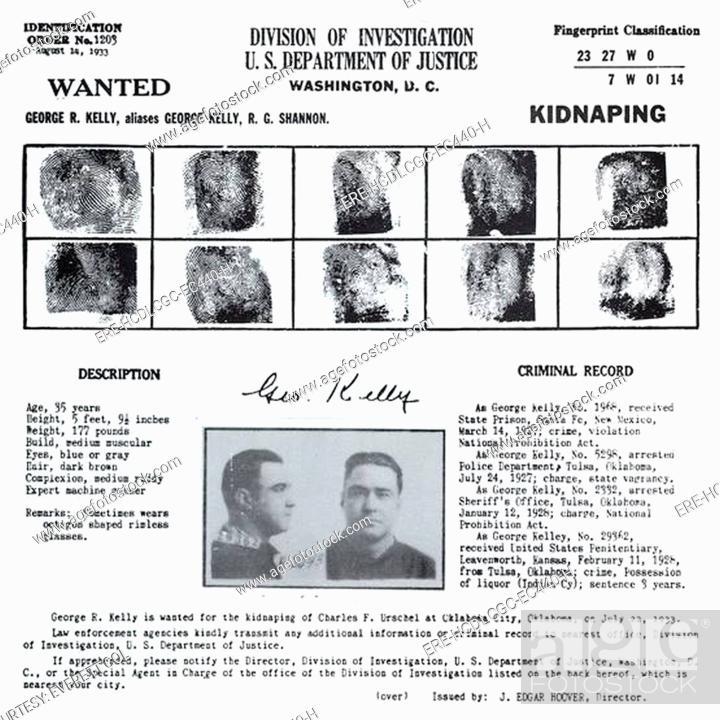 George \u0027Machine Gun\u0027 Kelly, Federal wanted poster with mugshot and