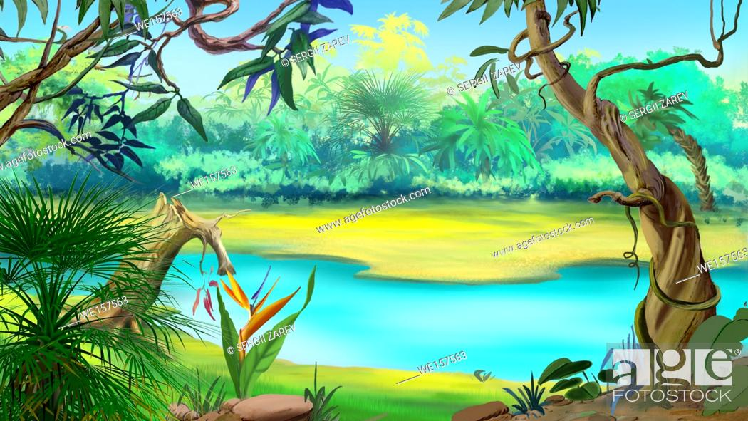 Small River in the Rainforest in a sunny day Digital Painting