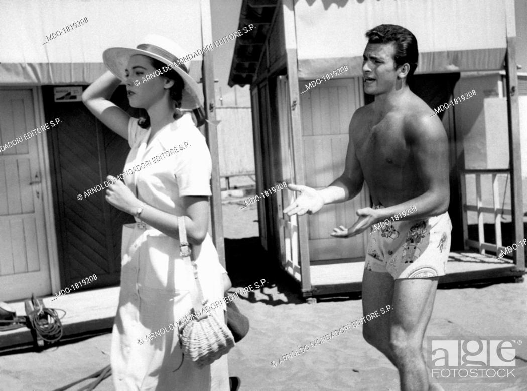 Schöner Film Italian Actor Maurizio Arena (maurizio Di Lorenzo) In Swimsuit Entreating German Actress Ingeborg..., Stock Photo, Picture And Rights Managed Image. Pic. Mdo-1819208 | Agefotostock
