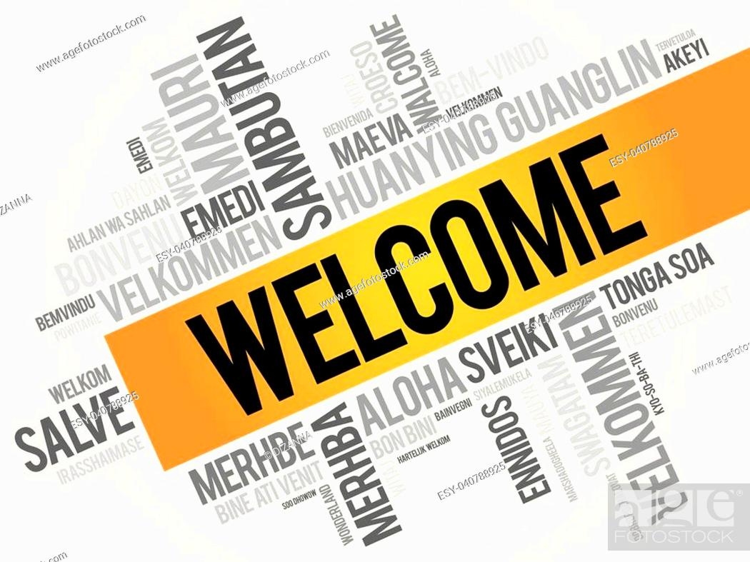 WELCOME word cloud in different languages, concept background, Stock