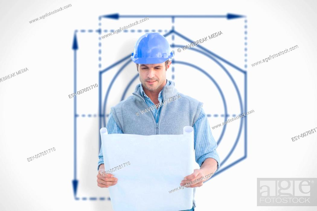 Composite image of architect reading blueprints, Stock Photo