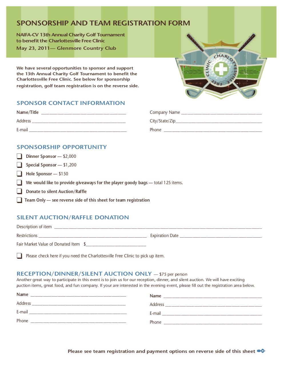 Golf Tournament Sponsorship Form Template Donation Thank You Letter