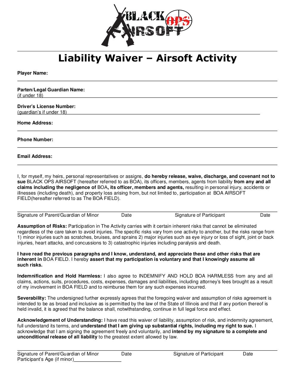 Waiver Of Liability printable sample liability release form - liability waiver form