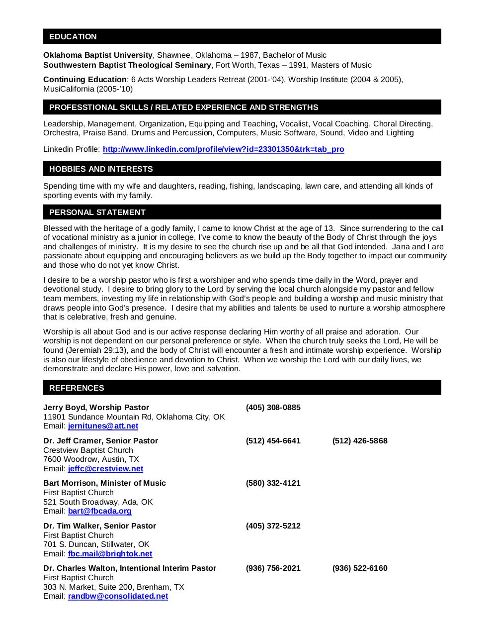 Pastoral Resume Template Pastor Resume Samples Resume Samples – Sample Resume for Pastors