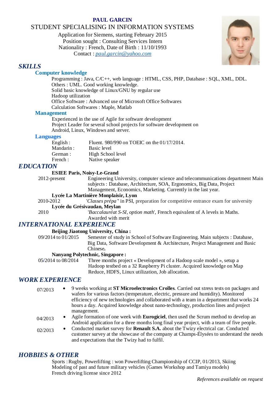 resume examples science professional resume cover letter sample resume examples science resume examples resume data scientist resume preview paul garcin resume data scientist