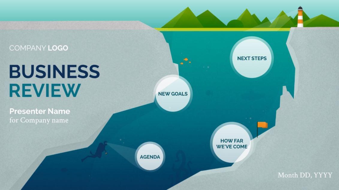 In Depth Business Review \u2013 Free Presentation Template Prezibase - presentation template