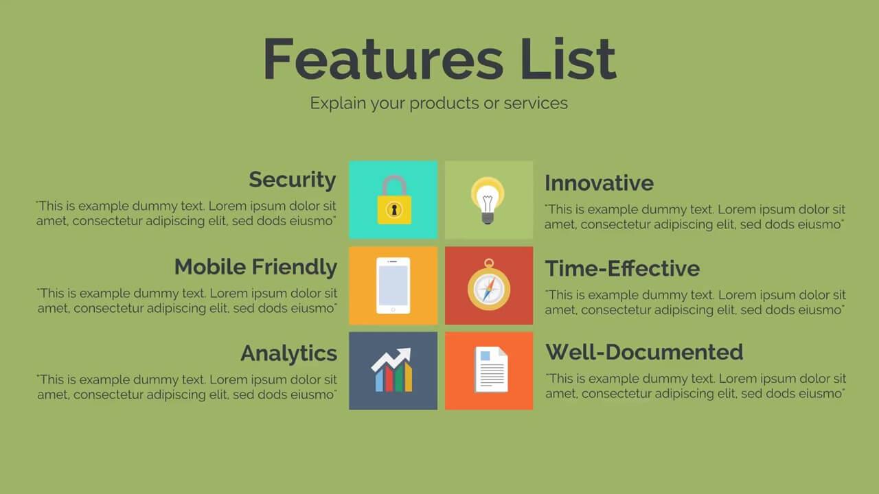 software feature list template