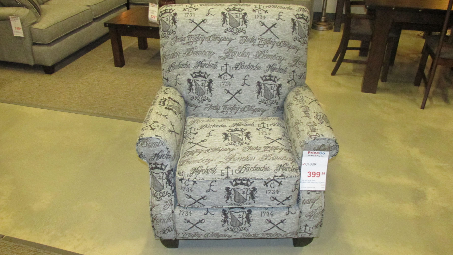 399 Furniture Store Stanton Bahama Grphite Accent Chair 95407 Gray Priceco Furniture Store