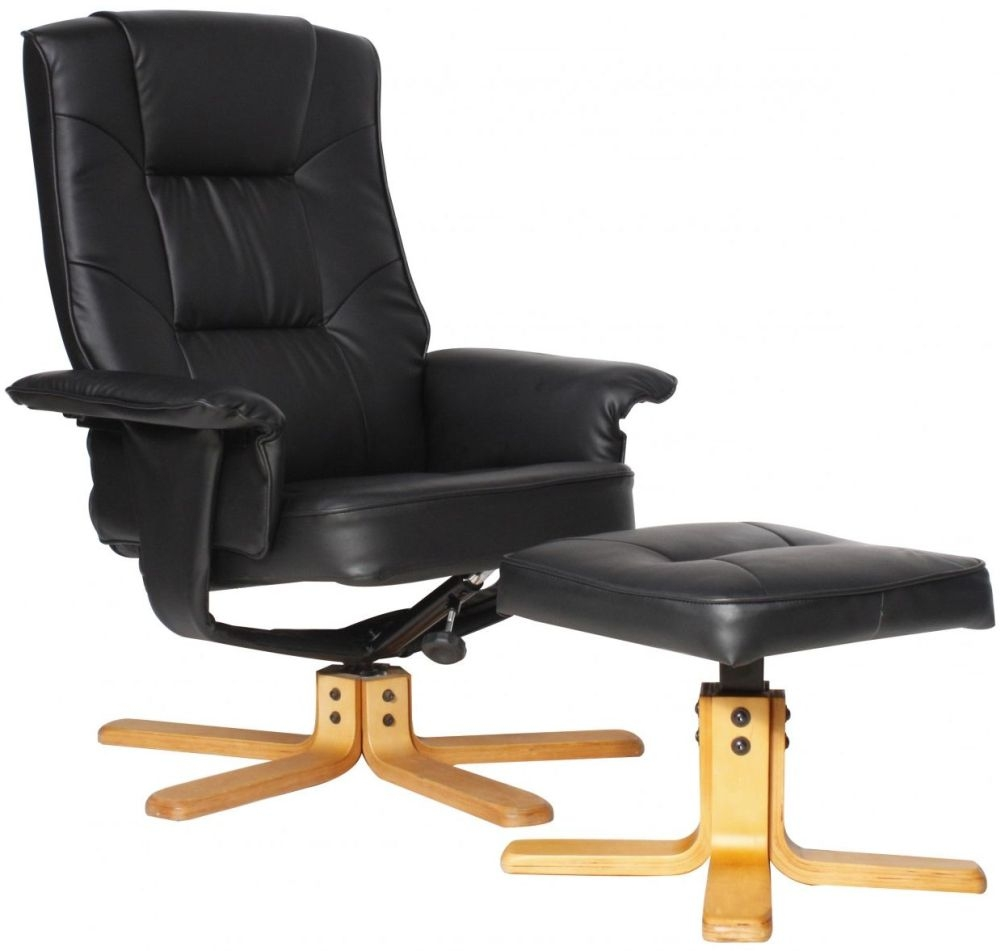 Alphason Drake Black Faux Leather Recliner Chair With Footstool