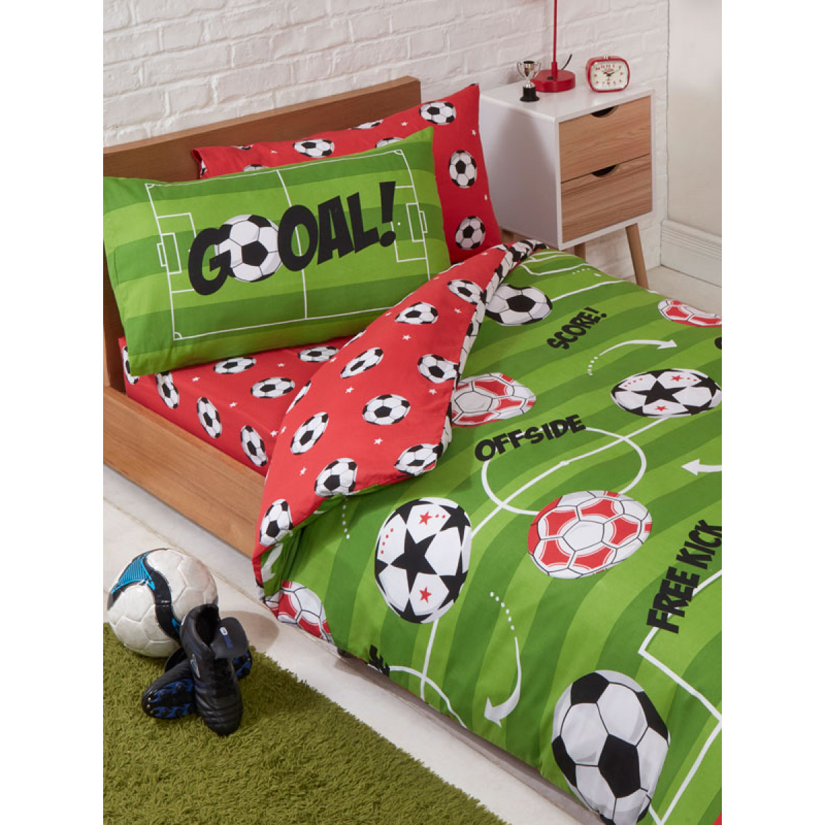Football Red 4 In 1 Junior Bettwäsche Bundle Set Bettdecke Kissen Und Bezüge