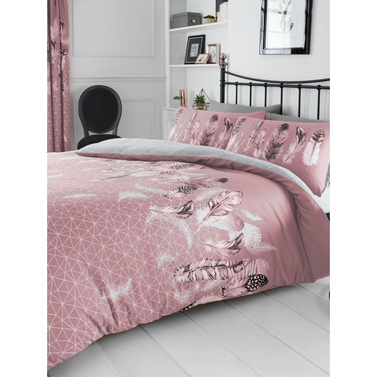Pink Duvet Cover Geometric Feathers Double Duvet Cover And Pillowcase Set Pink