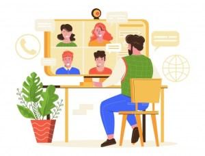 Ilustrasi Seseorang Sedang Melakukan Rapat Online