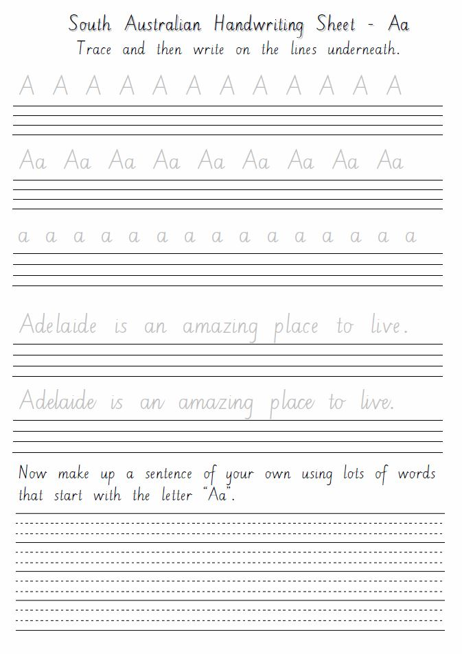 South Australian Handwriting Sheets Aa to Zz - primaryedutech