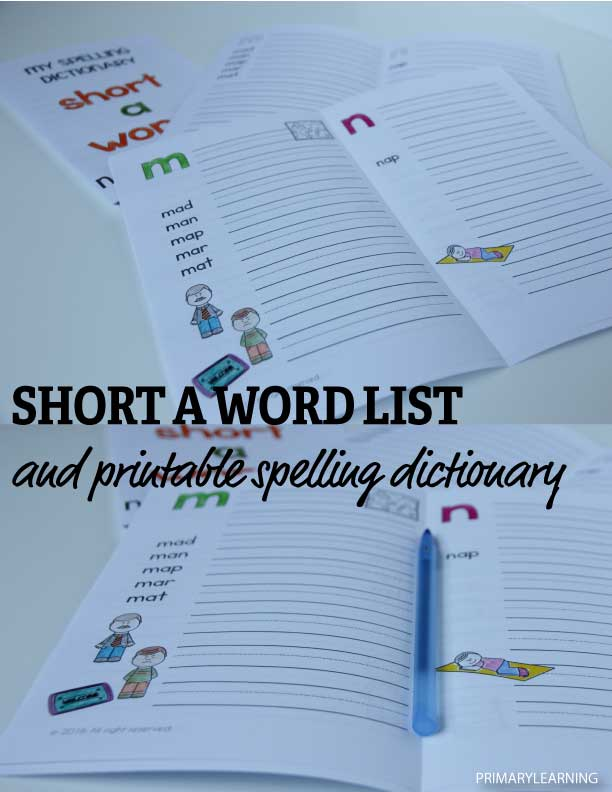 Short a Words List and Free Printable Dictionary