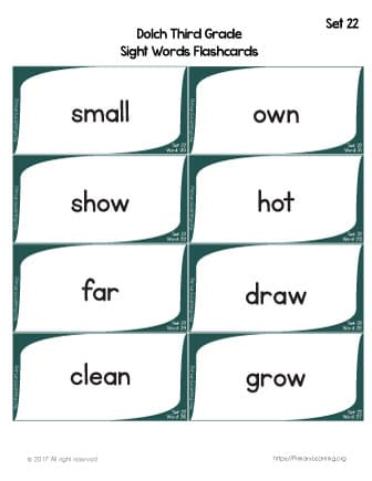Dolch Sight Words Flashcards List 22 PrimaryLearningorg