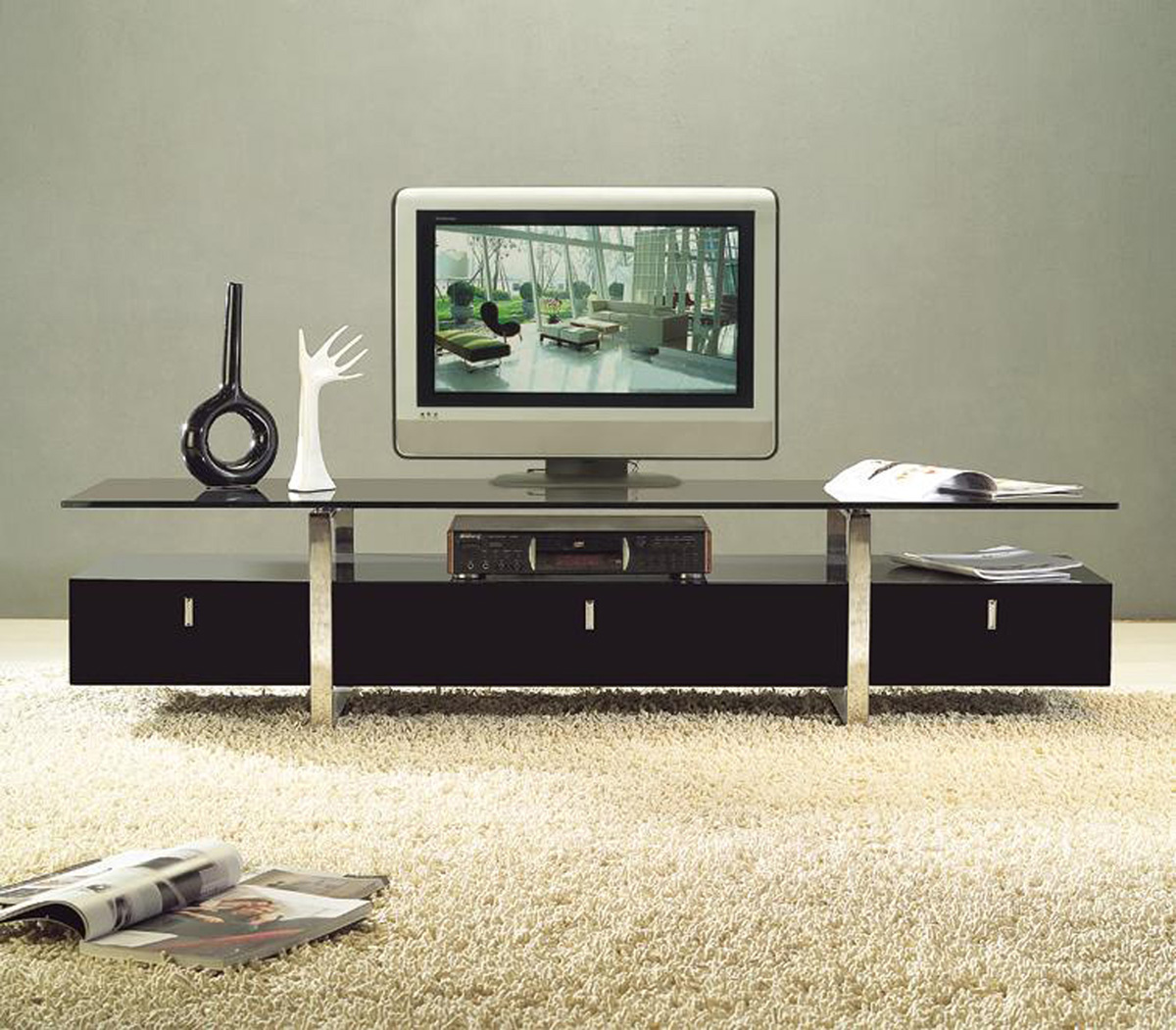 Modern Tv Clear Lined Design Contemporary Brown Color Tv Stand With Glass Top