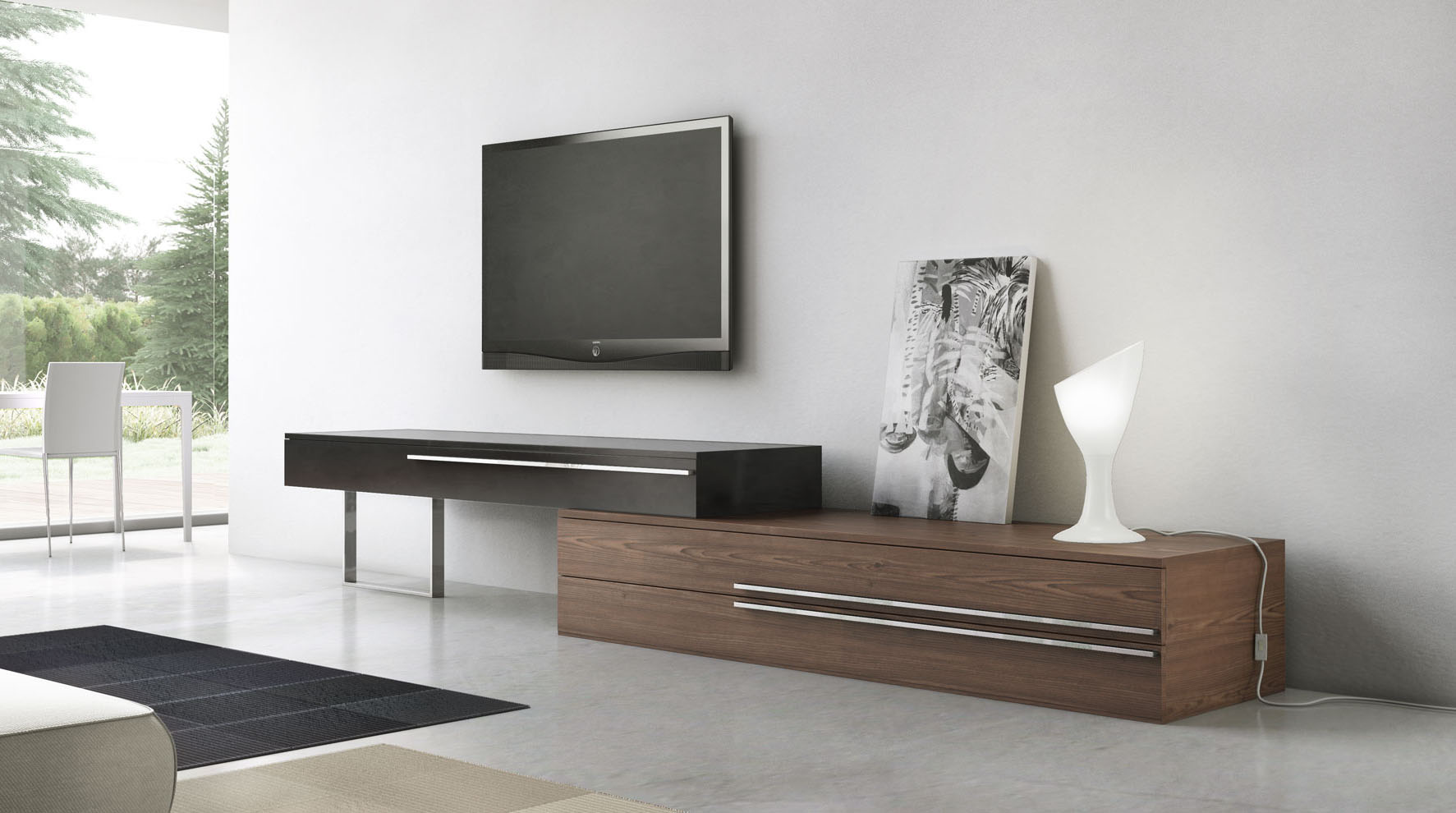 Unique Adjustable Lenght Three Drawer TV Entertainment ...