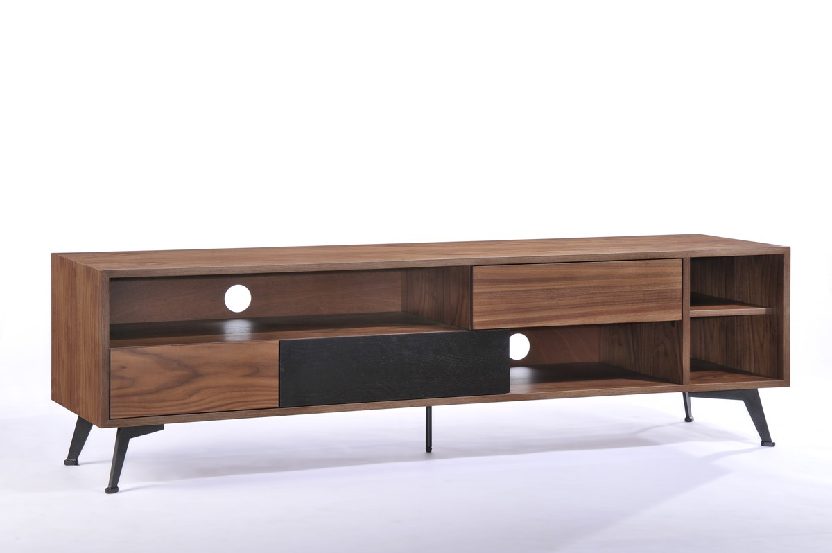 Modern Tv Walnut And Black Wood Modern Tv Stand Designs