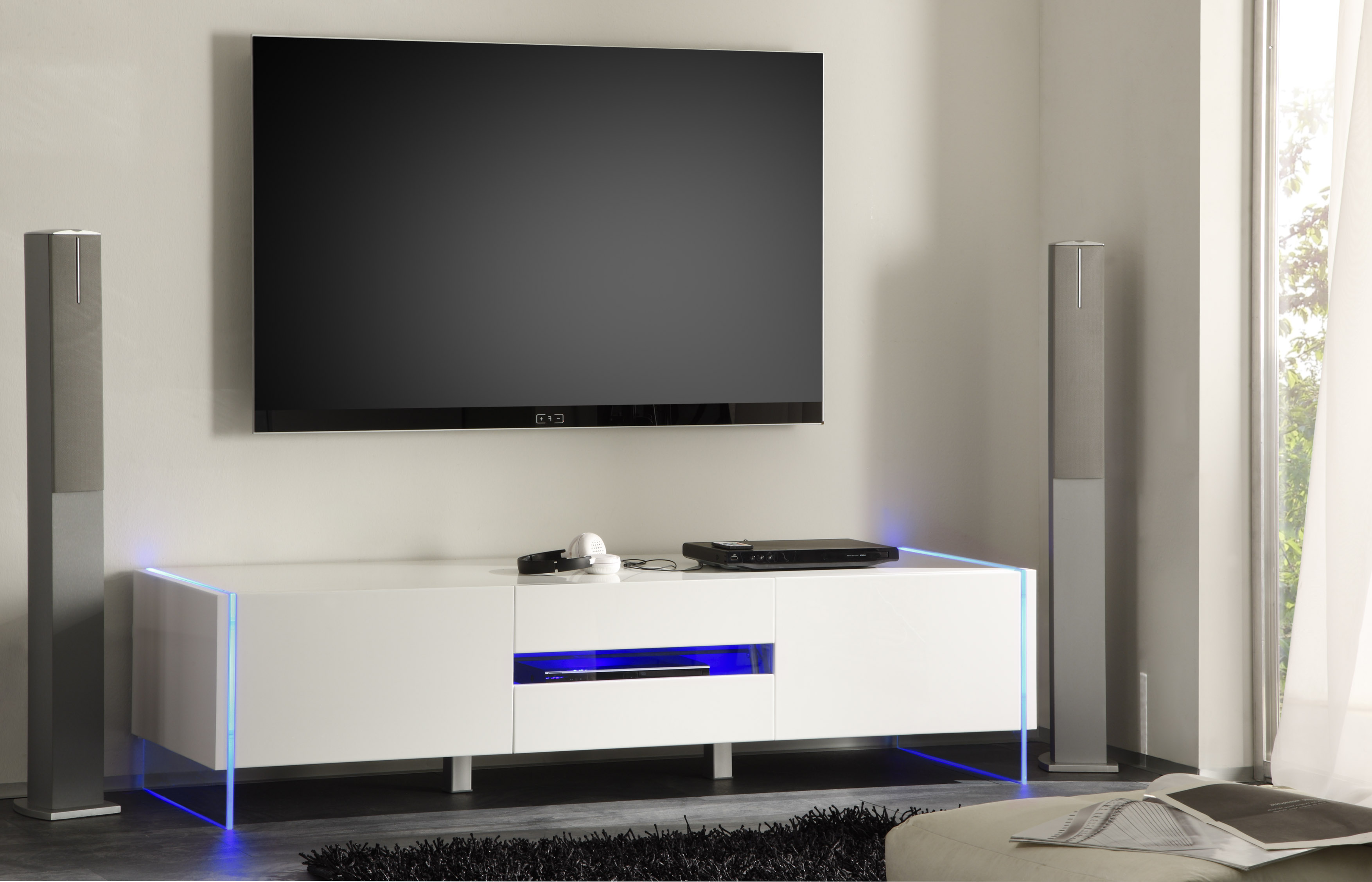 Modern Tv Base Chic Contemporary White Glossy Tv Stand Base With Led