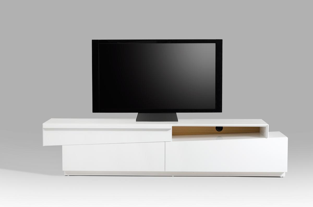 White Tv Stand Contemporary Slanted White High Gloss Tv Stand With