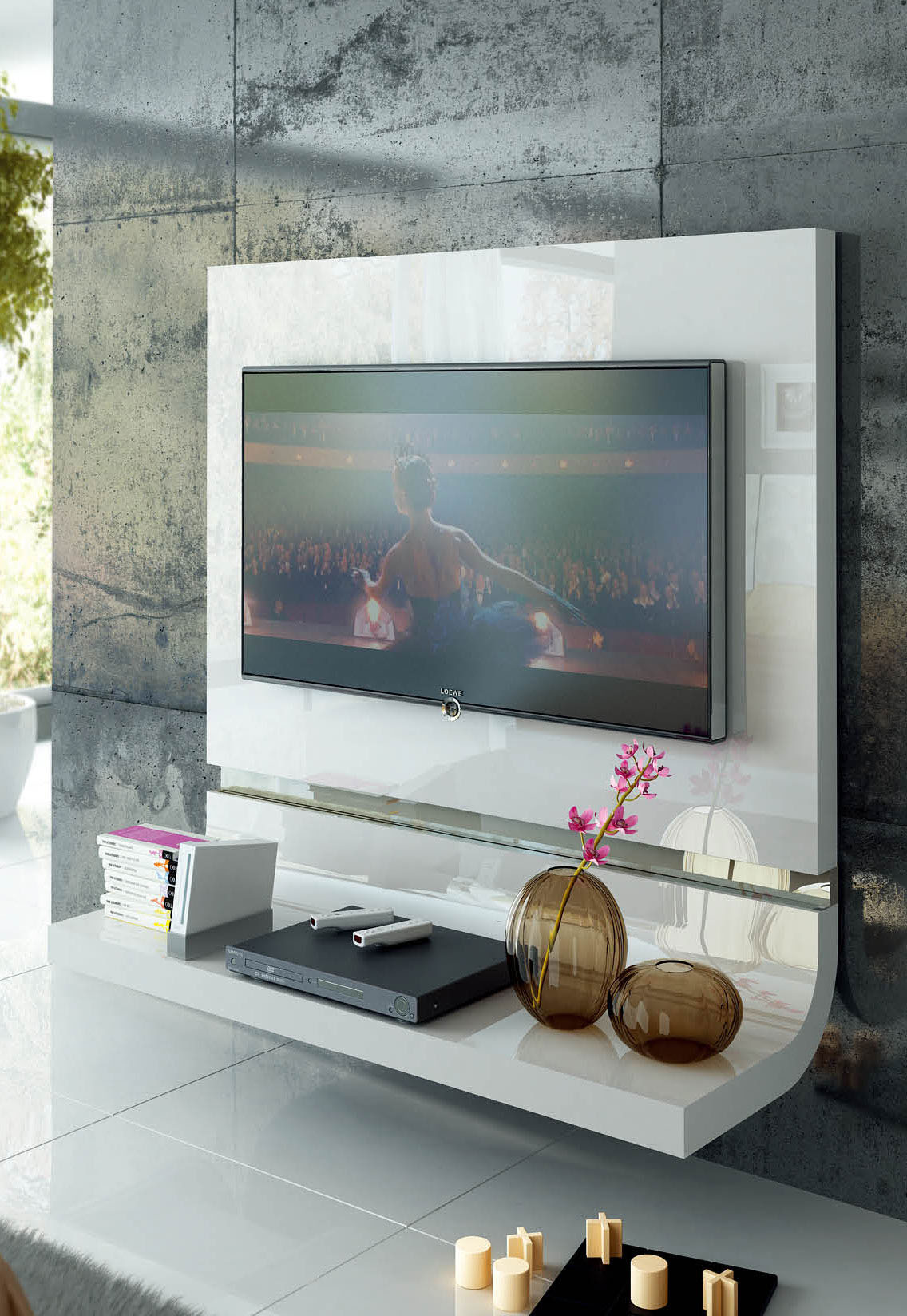 Floating Tv Wall Unit Spain Made White Lacquer Floating Wall Unit With Optional