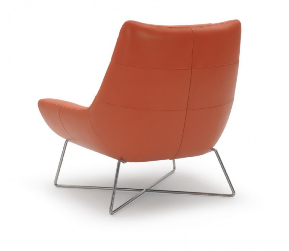 Orange Leather Chair Modern Orange Leather And Stainless Steel Lounge Chair