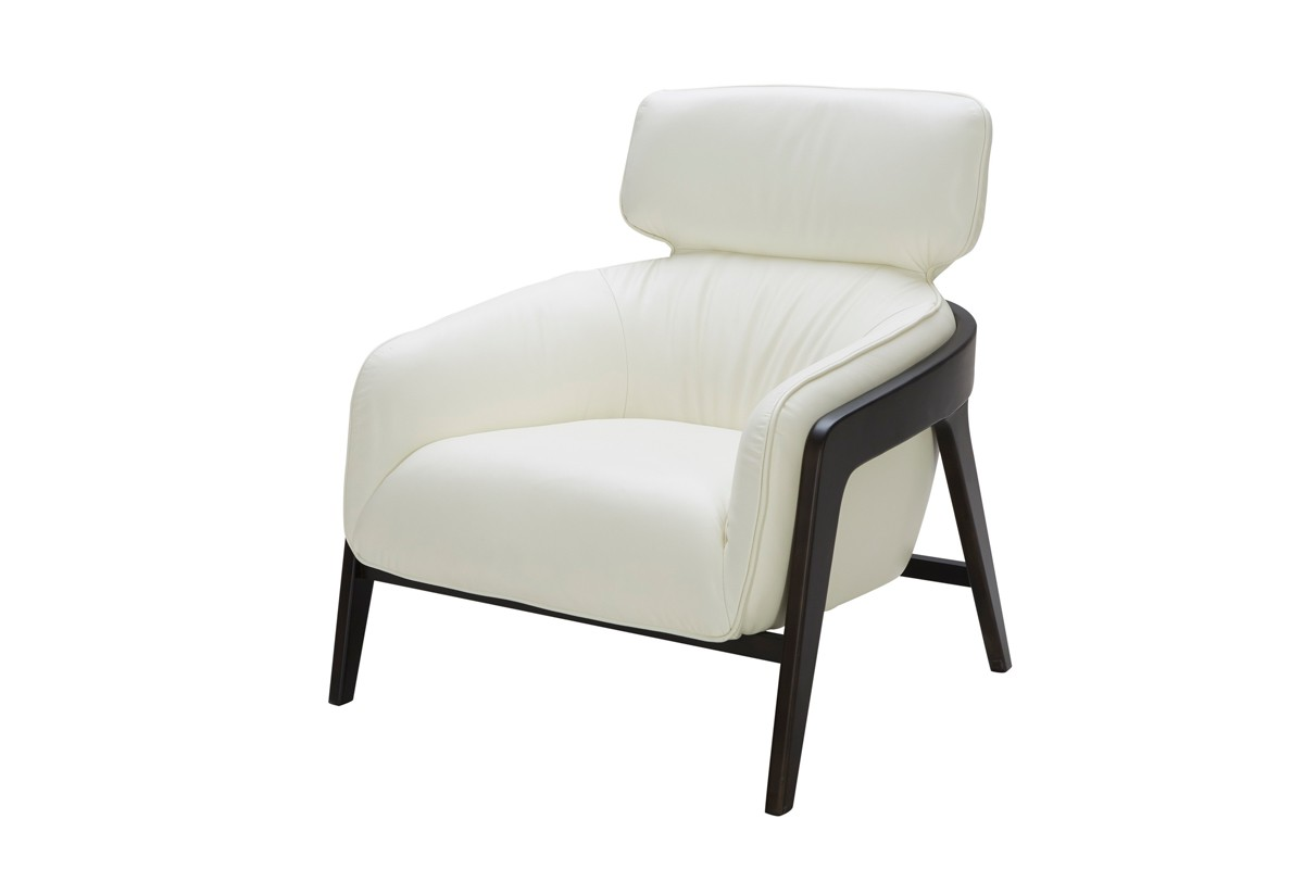 Modern Accent Chairs Modern White Leather Accent Chair With Dark Wood Legs