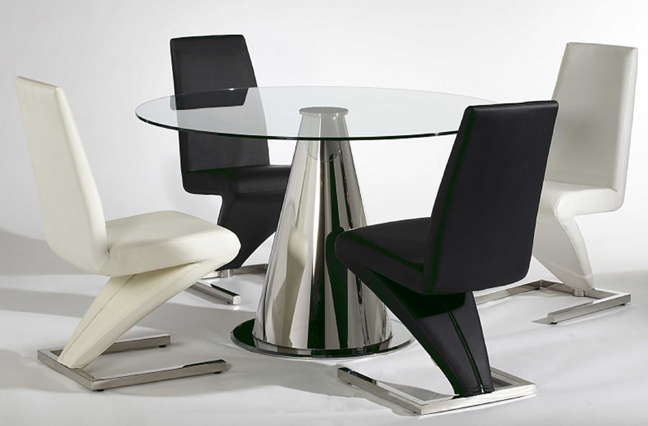 Modern Table And Chairs Zig Zag Black Or White Leather Upholstered Chair In Z Shape