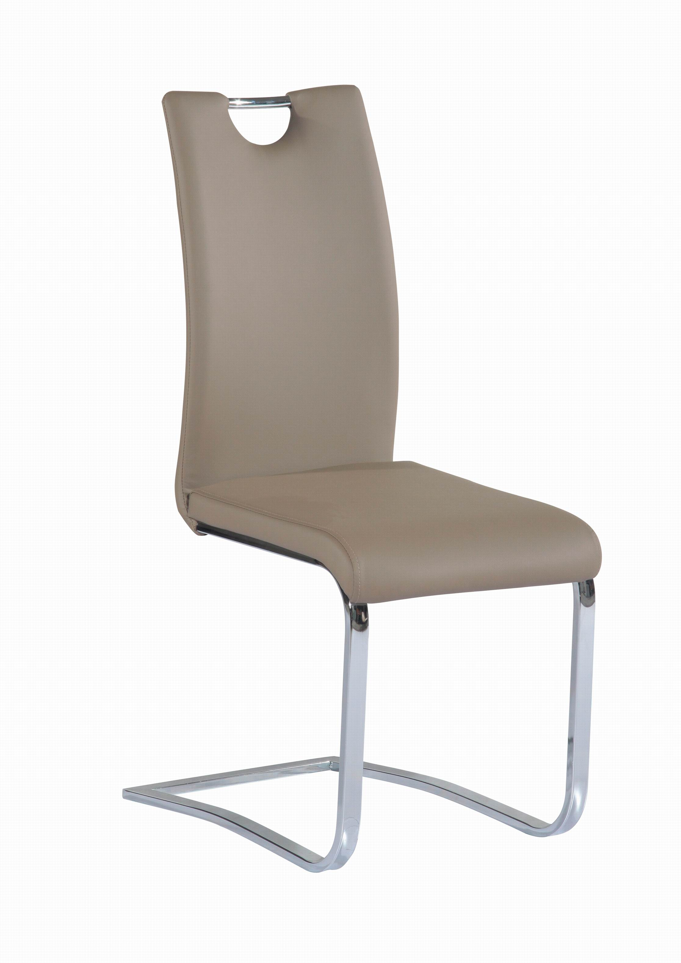 Dining Chairs With Handles On Back Taupe Upholstered Side Chair With Chrome Frame And Handle