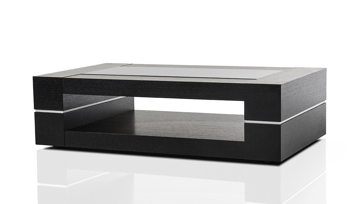 Black End Tables With Drawer Modern Black Oak Rectangular Coffee Table
