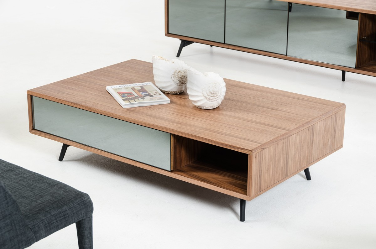 Coffee Tables Images Modern Walnut And Mirrored Glass Coffee Table Philadelphia